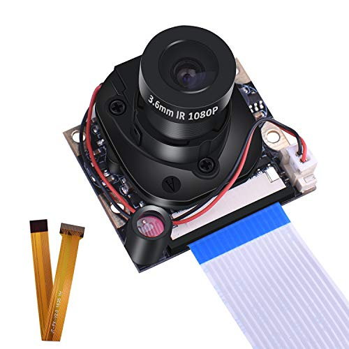 Raspberry Pi 4B 3 B + Modulo Fotocamera, Kuman 1080p HD 5MP Webcam OV5647 Sensore IR-Cut Camera Switching automatico Day/Night Vision Video per Raspberry Pi 3/2/1 zero W modello B/B + / A + SC25-1