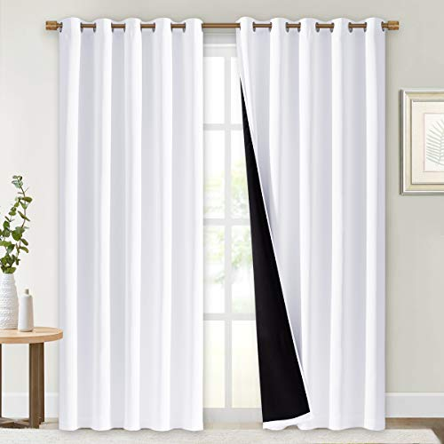 NICETOWN Full Shading Curtains for Windows, Super Heavy-Duty Black Lined Blackout Curtains for Bedroom, Privacy Assured Window Treatment (White, Pack of 2, 70 inches W x 95 inches L)