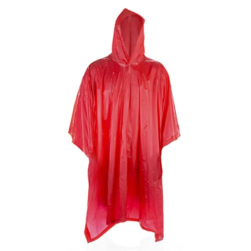 FUN FAN LINE - Poncho Impermeable Poncho Lluvia con Capucha Chubasquero Ideal para Motos (Talla única 125 x 100 cm) (Rojo)