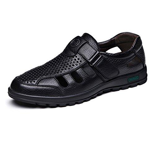 Zoo-yil Lqp-nsxjx Zapatos de los Hombres clásicos de Echt la Piel de Vacuno Transpirable Perforación Resbalón-en el de sin Sabor Suavemente único con Costura Mocasín (Color : Black, Size : 44 EU)