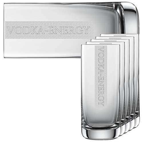 Miriquidi Vodka Energy Gläser 6er Serie Cool mit Gravur Vodka-Energy   auf 390ml Schott Zwiesel Convention Nr. 79 Glas   Spülmaschinenfest   Longdrinkglas mit Lasergravur 6 Stück