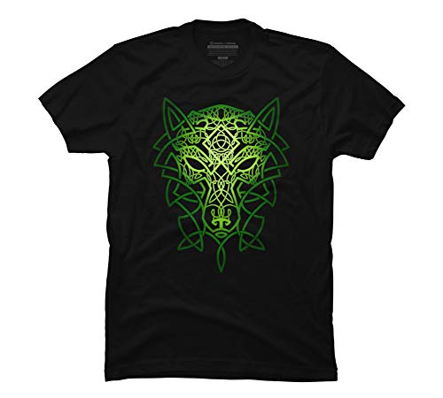 Design By Humans Celtic Wolf Men's Large Black Graphic T Shirt