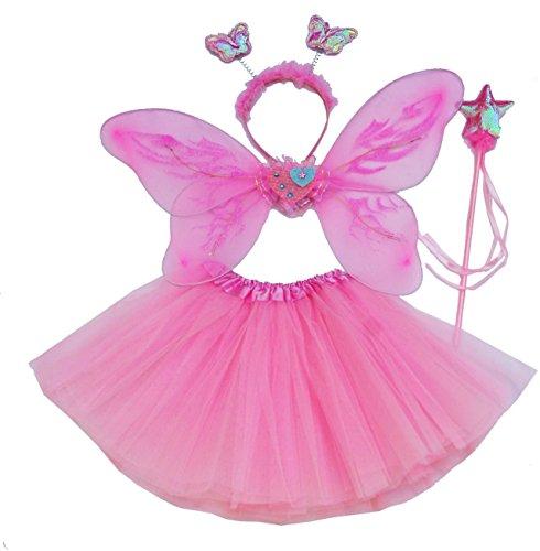 Fun Play - Disfraz de Hada para niñas - Alas de Mariposa, Tutú, Varita Mágica y Diadema - Disfraz de Mariposa o Ángel con Alas para niñas de 3-8 años - Color Rosa