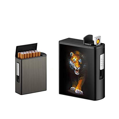 Zigarettenetui für Zigaretten im Gesamtpaket 20 Stück, Zigarettenetui Box Box Holder Automatisches Auswurfetui mit Dual Arc Lighter USB Wiederaufladbar, flammenlos, Winddicht (Tiger, Wolfram)