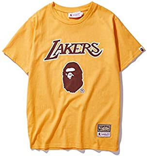 2020 fashion Bape ape head x NBA Lakers co brand pure cotton Japanese men's and women's Short Sleeve T-Shirt