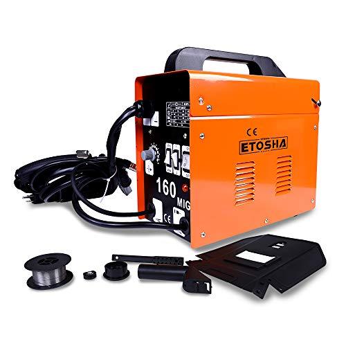 ETOSHA MIG 160 Welder Portable Flux Core Wire Gasless Automatic Feed Welder, 160 Welder Machine ARC 110V-Orange