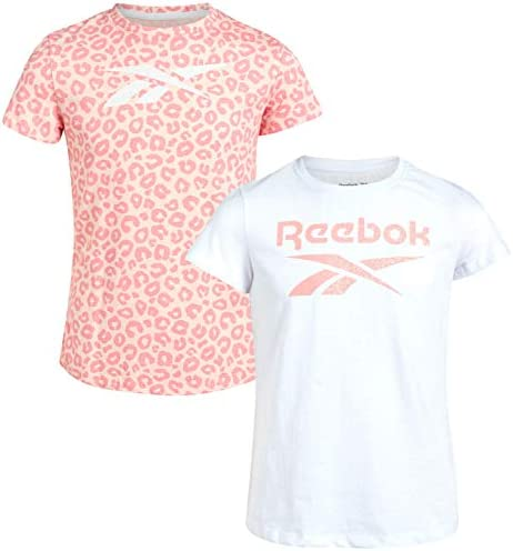 Reebok Girls Athletic Twist Front Fashion T Shirt 2 Pack Size Small White Pink Color Block product image
