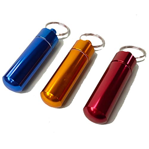 お値打ち工房 携帯灰皿 兼 ピルケース キーリング付き 3色 セット 【赤 黄 青】