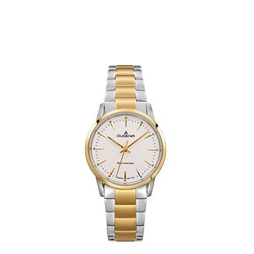 Dugena Damen Funk-Armbanduhr, Saphirglas, Edelstahl-Armband, Edelstahlgehäuse, Momentum, Silber/Gold, 4460853