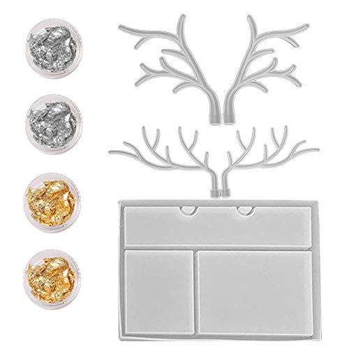 Keyzone Juego de formas de resina epoxi, soporte de cuerno de ciervo con bandeja de resina, estantería para joyas con ciervo, molde para moldear, herramientas para manualidades, decoración de mesa