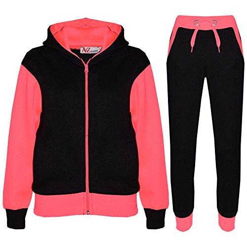 A2Z 4 Kids® Kinder Trainingsanzug Mädchen Jungen Designer Plain Kontrast - T.S Plain 101 Neon Pink 7-8