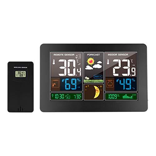 ACHNC Estación Meteorológica WLAN con Sensor Exterior, Estación De Pronóstico Digital con Alerta Y Temperatura/Humedad/Barómetro/Alarma/Fase Lunar/Reloj Atómico,Carga USB, Negro