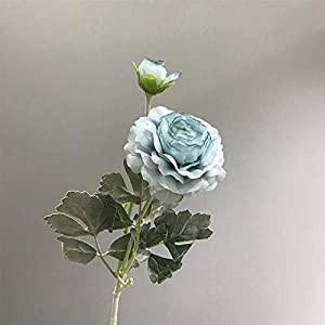 Artificial Flowers Decorative Bloom Artificial Fake Peonies Silk Flowers for Wedding Home Decoration Lotus Flocking Leaves Stem Decorative