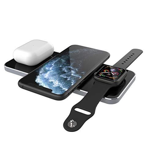 Prestigio Revolt A5 Qi Ladegerät - Kabellose 3-in-1 Ladestation für iPhone, Apple Watch, AirPods - Induktives Smartphone Ladegerät - 10W - Silber
