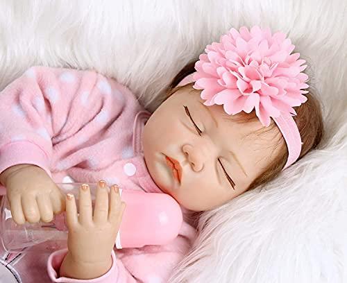 ZIYIUI 22pulgadas 55cm Bebes Reborn Silicona muñecas Reborn niñas Reales Baby Dolls Girls Realista Toddler Recien Nacidos niño Verdadero Originales Ojos Cerrados muñecos Reborn