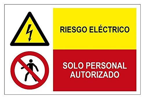 Becral®- Señal combinada ¡PELIGRO! RIESGO ELECTRICO/PROHIBIDO SOLO PERSONAL AUTORIZADO de 600X400mm ADHESIVO...