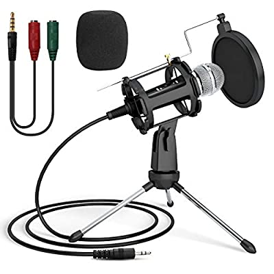 USB Microphone, PEMOTech PC Microphone Kit Recording Condenser Microphone Plug & Play with Sound Card Desktop Tripod Stand for YouTube, Facebook, Karaoke, Gaming, Chatting