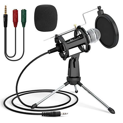 PC Mikrofon, PEMOTech Aufnahme Mikrofon Computer Kondensator Mikrofon 3.5mm Plug & Play mit Ständer für iPhone, Computer, Laptop, MAC, YouTube, Podcaster, Karaoke, Gaming, Chatten