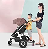 Wheeled Buggy Board - Second Child Artifact Kids Pushchair Stroller Ride On Board with Detachable Seat Stroller Attachment Standing Platform Up to 25Kg (Pink)