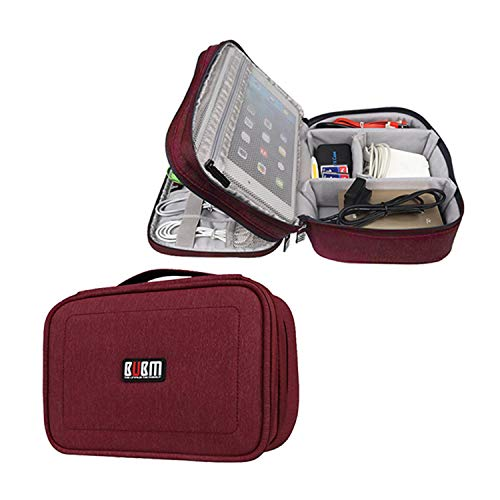 """BUBM 2 Layer Electronics Organizer, Universal Electronic Accessories Travel Case Storage Bag for Cables, Cord, USB Flash Drive, Battery and More, A Mesh Zipper Pouch Fits for 7.9"""", Rose Red"""