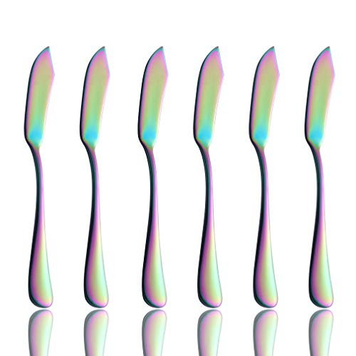 Onlycooker Rainbow Butter Spreader Knife Set 6 Piece Colorful Flatware 18/10 Stainless Steel 5.8-inch Cheese Spreader Knives for Bread Sandwich Multicolor Silverware Utensil Mirror Polished