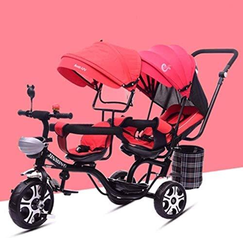 YONGYONGCHONG Wagen Baby-Tricycle Reclining Doppelsitz, einstellbare Markise, Sicherheitsgurt, Shock Infant Kinderwagen Fahrrad, Kleinkind-Jungen/Mädchen Dreirad (Color : C)