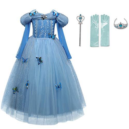 TTYAOVO Nieuwe Prinses Rapunzel Assepoester Jurk Prinses Kostuum Vlinder Meisje Jurk Kostuum