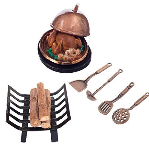 Baoblaze Juego Utensilios Cocina Mini 1/12 Chimenea