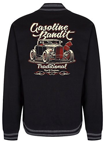 Gasoline Bandit Rockabilly College Baseball-Jacke: Hot Rod Traditional Größe S