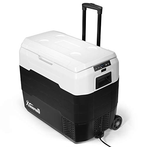 XtremepowerUS 52-Quart Bluetooth Function Portable Camping Refrigerator Compact Vehicle Car Mini Fridge Rolling Cooler ECO with Handle Wheel