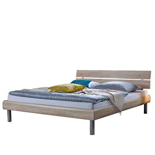 Hasena Soft-Line Bett in verschiedenen Farben, Füße Soko 20 cm und Kopfteil Nuo in Bettfarbe Größe 90 x 190 cm, Farbe Beton Nachbildung