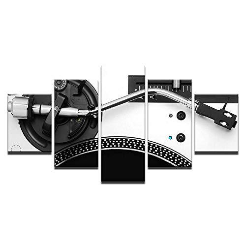 WUHUAGUO Cuadro sobre Lienzo 5 Partes Tocadiscos De Música En Blanco Y Negro Imprimir En Lienzo HD Cuadros para Dormitorios Modernos,Marco De Madera 150X80Cm Listo para Colgar