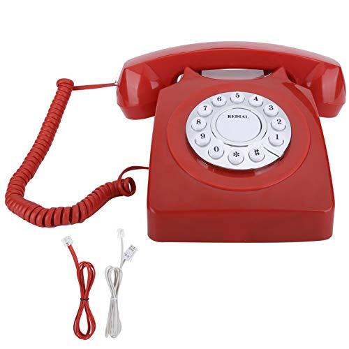 ASHATA Teléfono Vintage Europeo, teléfono multifunción Vintag doméstico Europeo, Llamada de Alta definición, botón Transparente Grande, teléfono Retro Antiguo, teléfonos de Oficina en casa(Rojo)