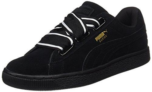 PUMA Damen Suede Heart Satin II 364084-01 Sneaker, Schwarz (Black-Black), 39 EU