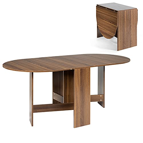 COSTWAY Folding Dining Table, Wooden Study Workstation PC Laptop Table, Home Office Space Saving Drop Leaf Desk for Kitchen Bedroom Living Room
