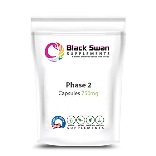 Black Swan Phase 2 750 mg Capsules Supplement – with Anti-oxidant Properties – Healthy Weight Loss, Healthy Digestive System and Healthy Nervous System (120 Caps)