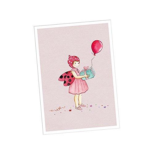 1 Postkarte mit Glücks Käfer in ROSA • Für Einladungen zum Kindergeburtstag, Glückwunschkarten, Kinderfasching, Happy Birthday u.v.m.