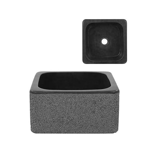 vidaXL Lavabo de Piedra de Río Negro Sanitario Baño Servicio Hogar 30x30x15 cm Piedra Natural