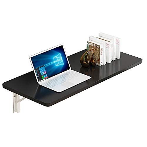 ZHANGYU Folding Wall Mounted Table Multi-Function Wall Mount Laptop Desk Writing Desk Home Office Computer Desk, Drop Leaf Table,Black piano paint 80×50
