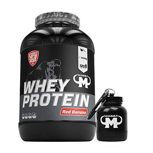 3kg Mammut Whey Protein Eiweißshake - Set inkl. Protein Shaker oder Powderbank (Red Banana, Gratis Mammut Powderbank)