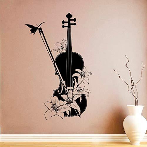 wopiaol Musikinstrument Vinyl Wandtattoo Violine Wandaufkleber Wohnkultur Violine Mit Blumen Wandbild Instrument Wand Poster A 57x91 cm