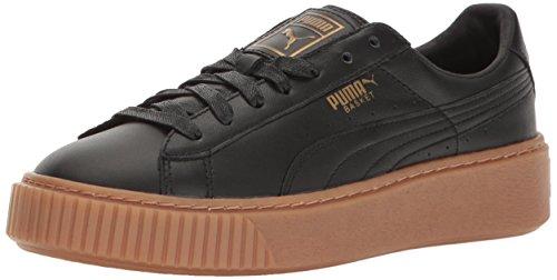 PUMA Women's Basket Platform CORE Fashion Sneaker, Black Black, 9 M US