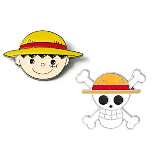 OYSTERBOY One Piece Anime 2pcs Enamel Pin Set Luff & Luffy's Straw Hat Pirates Jolly Roger Cosplay Cute Zinc Alloy Brooches Pin for SchoolBags Backpacks Shirt Hoodie Jeans Jackets Clothing Clothes