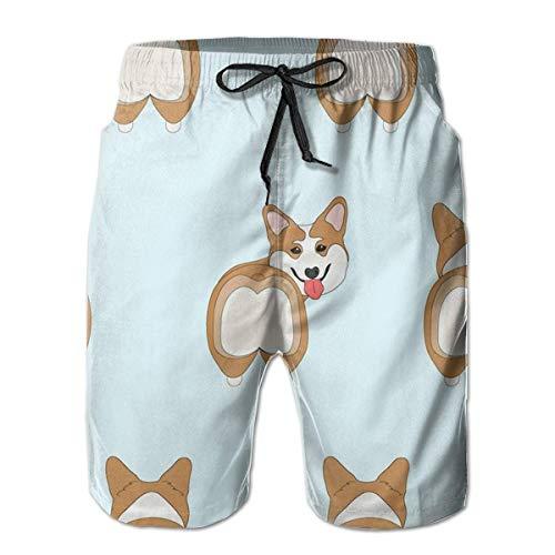 Funny Funny Corgi Dogs Butt Swim Trunks de Secado rápido para Hombres Surf de Verano Tablero de Playa Shorts/Bolsillos Laterales, XL