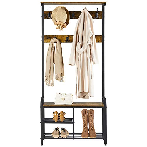YAHEETECH 72 Hall Tree Shoe Bench Entryway Coat Rack with Storage Hall Stand with Bench Coat Rack Stand with Bench Rustic Brown
