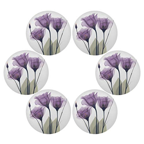 senya Lavender Hope Flowers Round Place mats for Kitchen Dining Table Runner Heat Insulation Non-Slip Washable Fall Placemats Set of 6