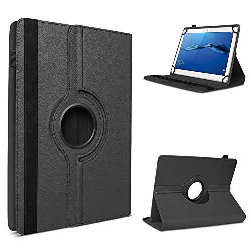 UC-Express Robuste Tablet Schutzhülle für Huawei MediaPad T1 T2 T3 10.0 aus Kunstleder Hülle Tasche Standfunktion 360° Drehbar Cover Hülle Universal, Farben:Schwarz