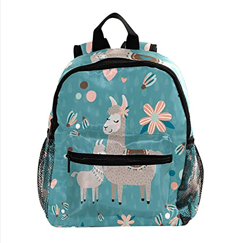 Mochila para niños pequeños, impermeable, mochila preescolar, linda mochila escolar para niños, gran capacidad, bolsas escolares, calavera y rosas rojas, Teal Mama Llama 25, 25.4x10x30 CM,