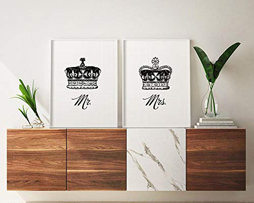 VVSUN king and queen above bed wall decor prints, royal crown, hampton style, romantic print, mr,and mrs wall art, poster,30x42cm(no frame
