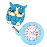 Suministros de Relojes - Reloj de Enfermera de Silicona Azul Cielo Reloj de Bolsillo con diseño de búho Reloj de Bolsillo Estirable Reloj Colgante
